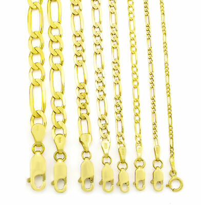 $140.05 • Buy Real 14K Yellow Gold 2mm- 8mm Italian Figaro Link Chain Pendant Necklace 16 -30