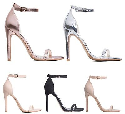 £9.99 • Buy Womens Ladies Barely There High Heels Stilettos Ankle Strap Heels Shoes Size