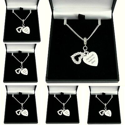 £19.99 • Buy Personalised Necklace With Engraving, Two Heart Pendants & Crystals, Gift Boxed