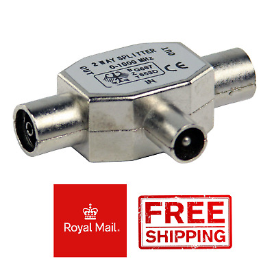 Coax Male To Female Silver 2 Way T Splitter Adapter + 3 Coax + 1 Coupler • 2.99£