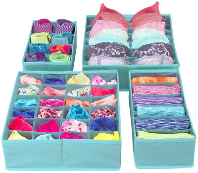 £14.52 • Buy Set Of 4 Foldable Drawer Dividers, Storage Boxes, Closet Organizers, Under Bed