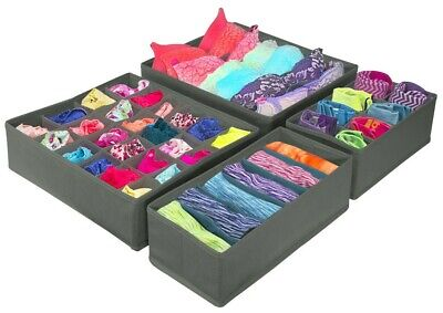 £16.98 • Buy Set Of 4 Foldable Drawer Dividers, Storage Boxes, Closet Organizers, Under Bed