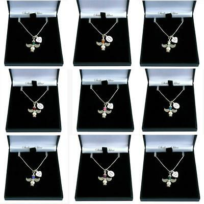 Sterling Silver Birthstone Necklace With Angel & Engraved Tag For Women & Girls • 19.99£