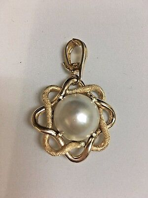 $799 • Buy 14k Mabe Pearl Pendant With Enhancer Bail