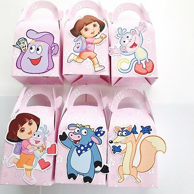 6x Dora Explorer Lolly Loot Bag Box. Party Supplies Bunting Cake Banner Bunting • 4.63£