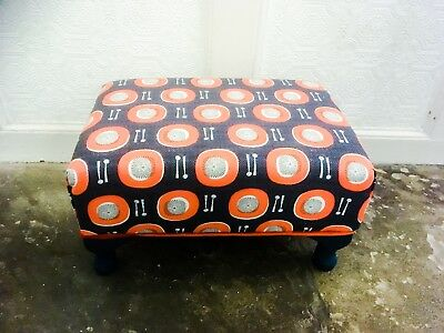 Small Footstool - African Drums Fabric Blue And Orange, Queen Anne Legs • 65£