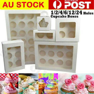 AU25.80 • Buy Premium Cupcake Box Range 2 4 6 12  24 Hole Window Face Cases Party 5-100 PCS