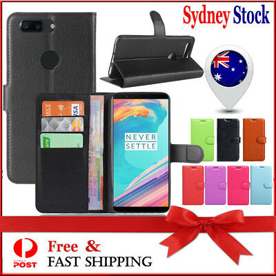 AU7.49 • Buy For OnePlus 5 5T Case Leather Wallet Card Pocket Flip Cover One Plus 1+ 5 T Case
