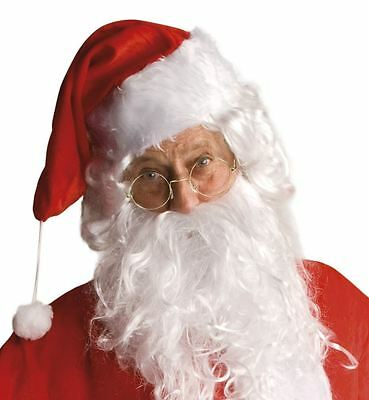 Father Christmas Clear Lens Round Glasses Santa Grotto Fancy Dress Accessory Old • 1.69£