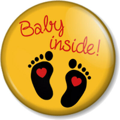 BABY INSIDE 1  Pin Button Badge Pregnant Mother Mum To Be Shower Gift - Yellow • 0.99£