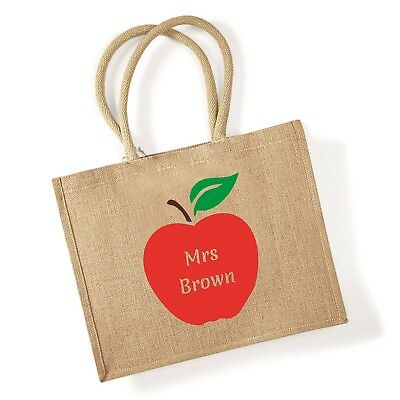 £10.99 • Buy Personalised Jute Shopping Bag With APPLE Teacher Gift Name Grocery Carrier