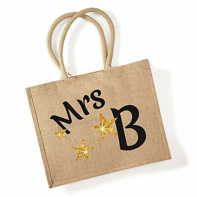 £10.99 • Buy Personalised Jute Shopping Bag Gift Mrs Mis Mr Design & Initial Grocery Carrier
