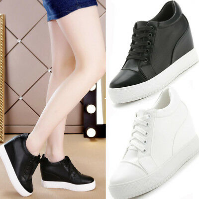 Womens White Hidden Wedge Heel Lace Up Trainers Sports Sneakers Plimsoll Shoes • 16.99£