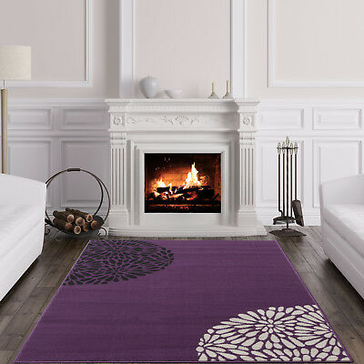 New Traditional Purple Floral Rugs Soft Easy Clean Petal Cheap Living Room Rugs • 19.95£