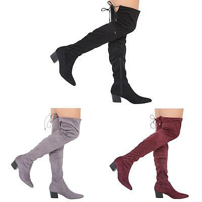 Womens Ladies Mid Heel Thigh High Over The Knee Stretch Boots Size 3-8 • 19.99£