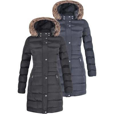Womens Long Fur Trimmed Hooded Padded Puffer Parka Ladies Winter Jacket Coat • 29.99£
