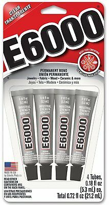 £6.53 • Buy E-6000 4-tubes Industrial Strength Adhesive Clear Flexible Paintable Craft Glue
