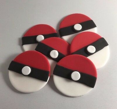 6 Edible Sugarpaste POKEBALL  Cupcake / Cake Toppers BIRTHDAY Pokemon  • 3.99£