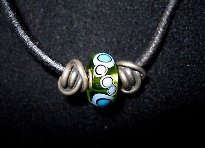 $149.99 • Buy Trollbeads LAA  Murano Glass Sterling Silver Slider Black Leather Charm Necklace