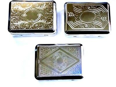 Tobacco Tin Case  Large Deep Strong Stainless Steel With Paper Holder   • 5.50£