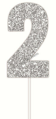 AU4.08 • Buy CAKE TOPPER NUMBER GLITTER SILVER 2 PARTY SIGN BIRTHDAY SUPPLIES  2nd 21st 20th