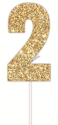 AU4.08 • Buy CAKE TOPPER NUMBER GLITTER GOLD 2 PARTY PICK SIGN DECORATION BIRTHDAY 2nd 21st
