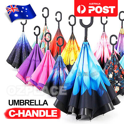 AU15.85 • Buy C-handle Reverse-Design Windproof Double Layer Upside Down Inverted Umbrella AU