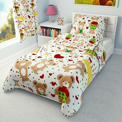 £13.99 • Buy RED HEARTS TEDDIES Baby Bedding Set Duvet Covers For Cot/Cot Bed/Toddler/Junior