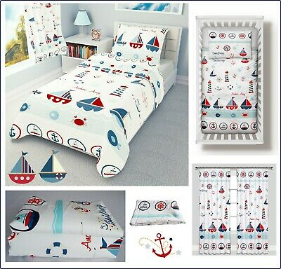 SEA BOATS Baby Bedding Set Duvet Covers For Cot/Cot Bed/Toddler 100% COTTON • 12.99£