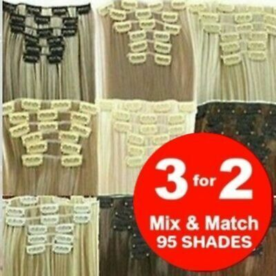 £7.20 • Buy FULL HEAD Short & Long Clip In Blonde Feels Like Real Remy Human Hair Extensions