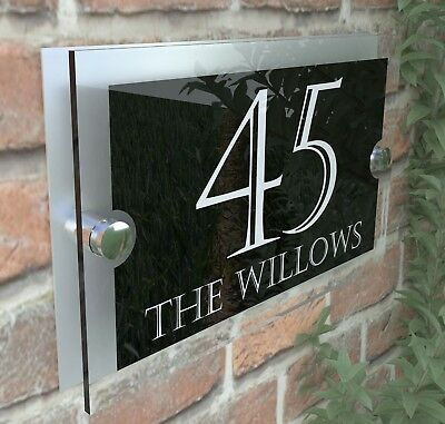 Modern House Sign Plaques Door Number Acrylic Personalised Name Plate PAR24WB • 7.45£