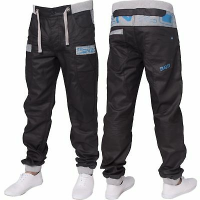 New ENZO Mens Cuffed Denim Fashion Jogger Jeans Branded Waist Sizes Black Blue • 32.99£