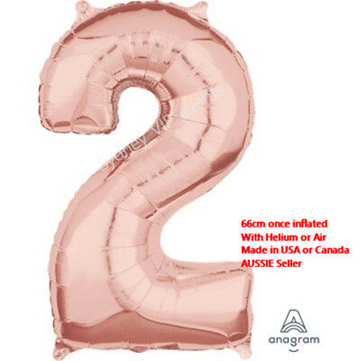AU7.25 • Buy Number Foil Balloon Two 2 Rose Gold 66cm 2nd 21st Birthday Party Helium Quality