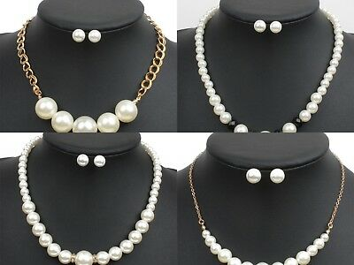 £3.99 • Buy Ladies & Womens Pearl Bead Statement Bridal Fashion Necklace And Earring Sets Uk