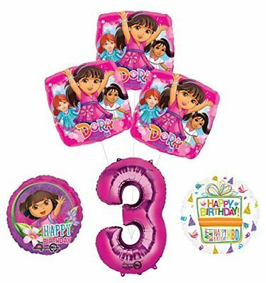 Dora The Explorer 3rd Birthday Party Supplies And Balloon Bouquet Decorations • 15.06£