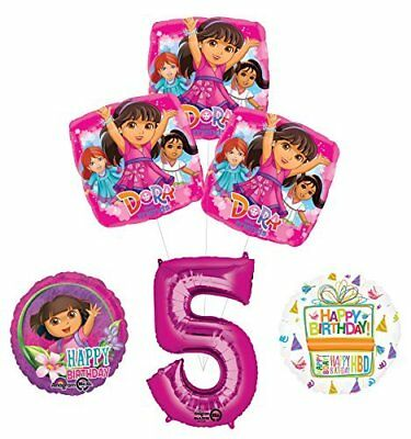 Dora The Explorer 5th Birthday Party Supplies And Balloon Bouquet Decorations • 14.34£