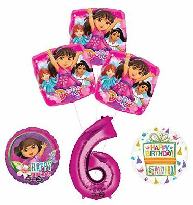 Dora The Explorer 6th Birthday Party Supplies And Balloon Bouquet Decorations • 14.34£