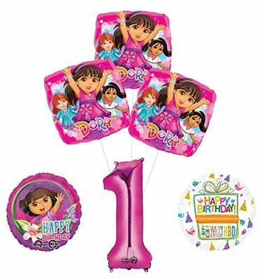 Dora The Explorer 1st Birthday Party Supplies And Balloon Bouquet Decorations • 14.34£