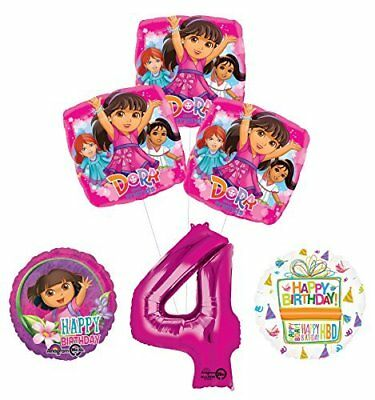 Dora The Explorer 4th Birthday Party Supplies And Balloon Bouquet Decorations • 14.34£