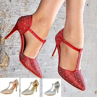 £14.80 • Buy Ladies Diamante High Heel Shoes T Bar Ankle Strap Pointy Toe Court Shoe Size 3-8