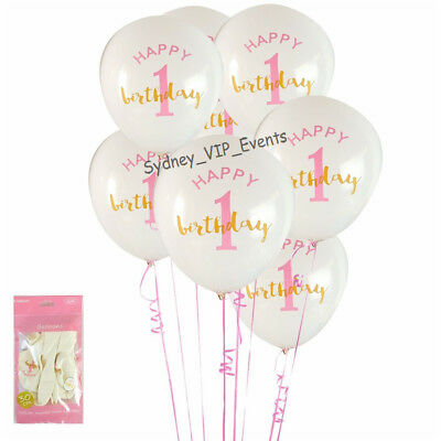 AU3.95 • Buy First 1st Birthday Party Gold Pink White Balloons 6pk Girl Helium Quality Latex