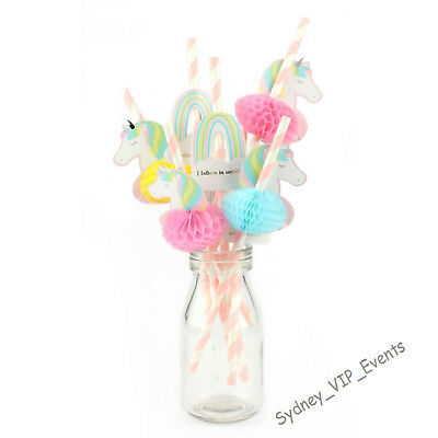 AU3.95 • Buy Unicorn Birthday Party Supplies Paper And Honeycomb Tissue Straws 8pk Fantasy