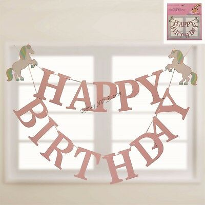 AU6.95 • Buy Unicorn Happy Birthday Banner Party Garland 2m Hanging Decoration Girl Fantasy