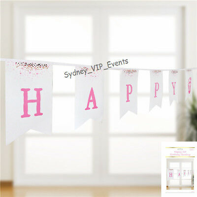 AU5.65 • Buy First 1st Birthday Bunting Pink Gold White Confetti  Party Girl Banner Hanging