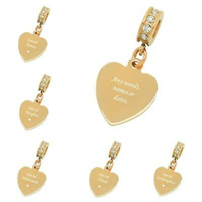 Rose Gold Heart Charm With Personalised Engraving Option, For Mum, Daughter Etc • 11.99£