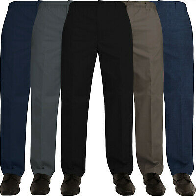 Mens Rugby Trousers Elasticated Waist Regular Casual Smart Work Pants All Waists • 10.99£