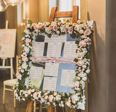 £50 • Buy Wedding Table Plan Floral Mirrored Frame - White Pink Rose - * FOR HIRE*