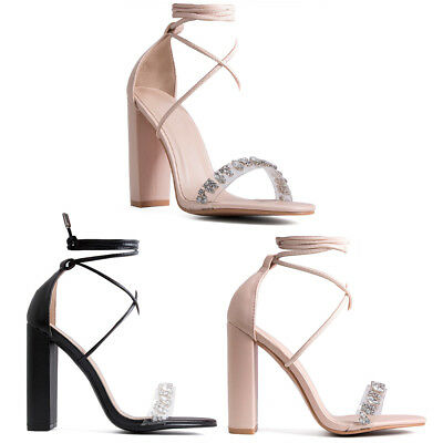 Womens Ladies Perspex Clear Diamond Strap Lace Up Block High Heels Shoes Size • 14.99£