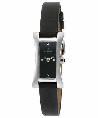 Eterna Women's Vintage Sahida Diamond Black Satin Swiss Quartz Watch 2610-41-46 • 169.95£