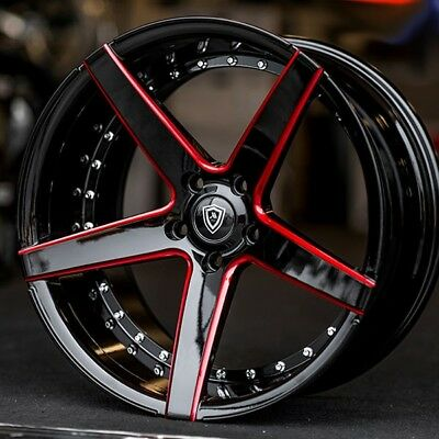 $1799 • Buy 22  Marquee Wheel M3226 Gloss Black With Red Milled Concave Rims Fit Chevy
